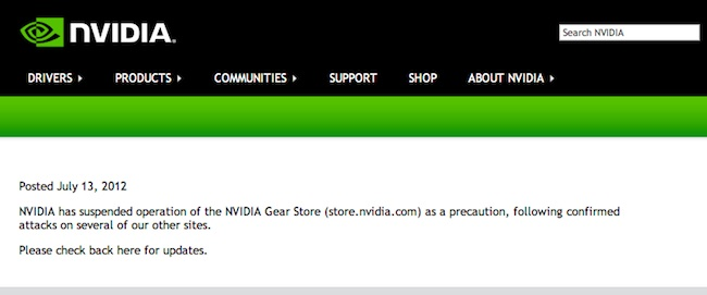 NVDA Online Store Hacked