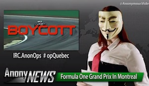 Anonymous Targets F1 in #OpQuebec