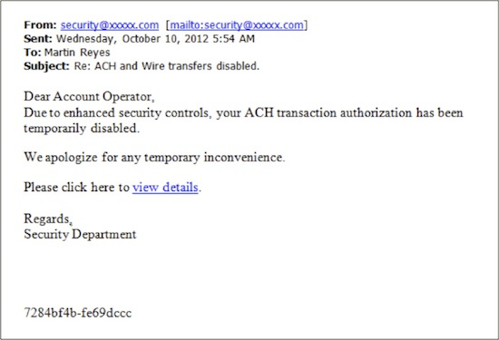 Screenshot of a Phishing Email