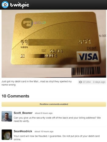Tweeted Debit Cards