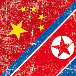 China and North Korea Flags