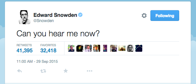 Edward Snowden's First Tweet