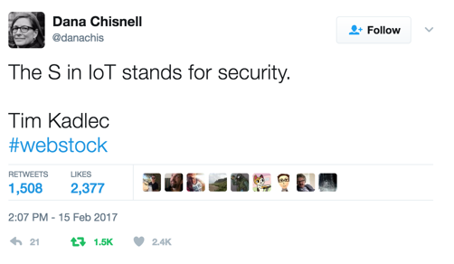 The S in IoT Stands for Security: Tweet