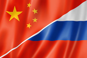 Russia and China Flags