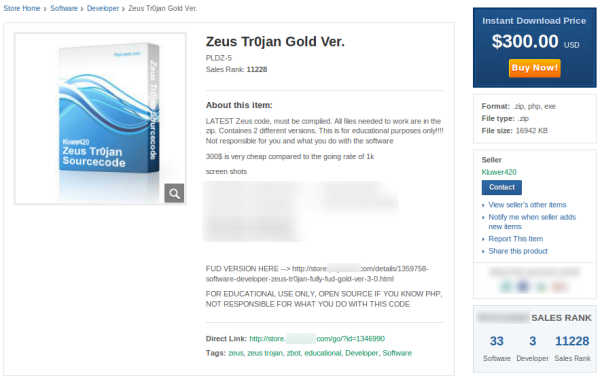 Zeus Trojan Being Sold Online