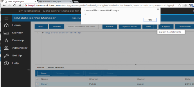 IBM BigInsights XSS