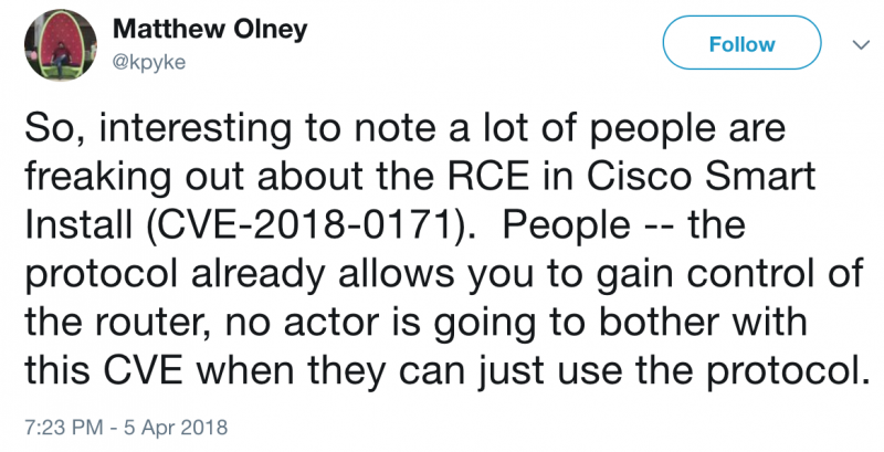 Cisco expert on CVE-2018-0171 exploitation