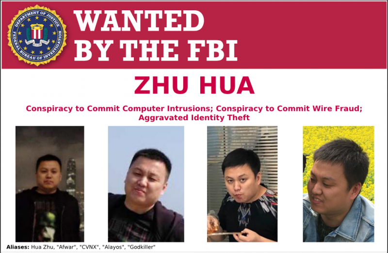 Zhu Hua wanted by FBI