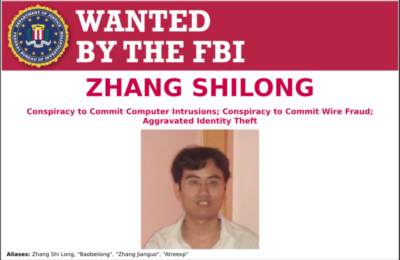 Zhang Shilong wanted by FBI