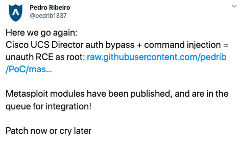Pedro Ribeiro tweet on Cisco UCS vulnerabilities