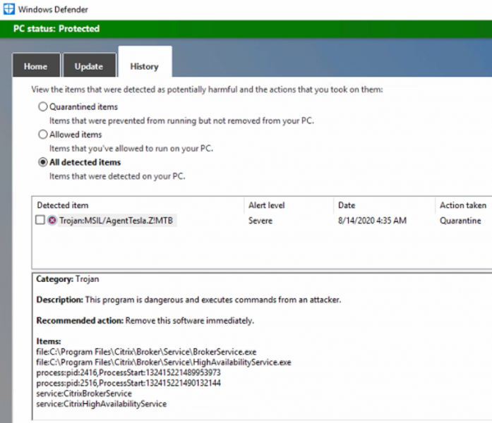 Windows Defender detects Citrix components as malware - Photo credits @CemBALIK