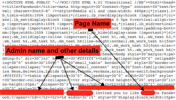 Facebook emails expose information on page admins