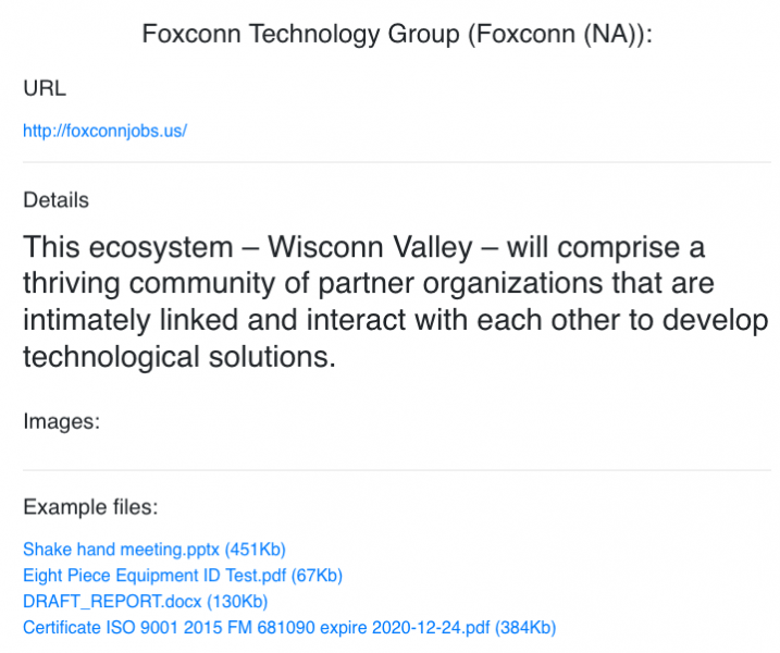 Files allegedly stolen by hackers from Foxconn