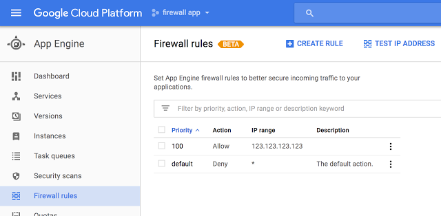 Google App Engine firewall