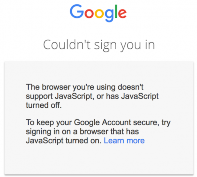 Google requires users to enable JavaScript when accessing their account