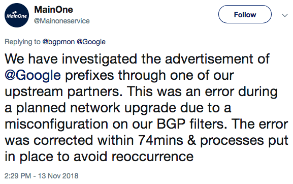 MainOne confirms misconfiguration led to BGP leak