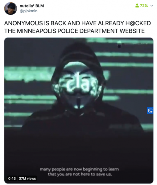 Anonymous hackers claim to have hacked Minneapolis PD website