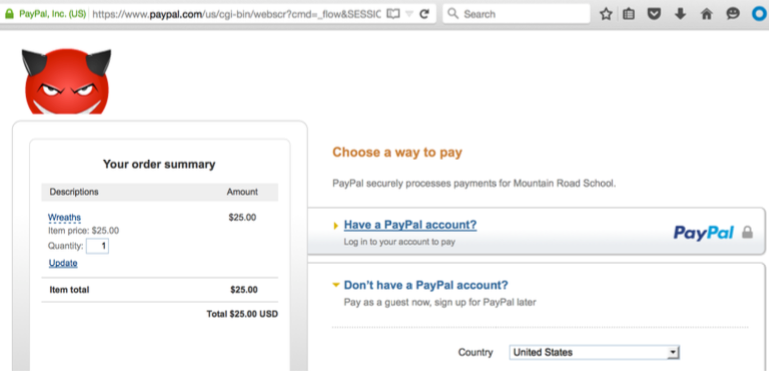 Image inserted into PayPal payment page