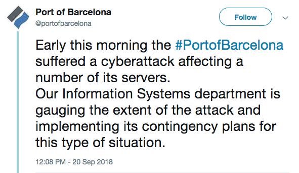 Port of Barcelona reports cyberattack