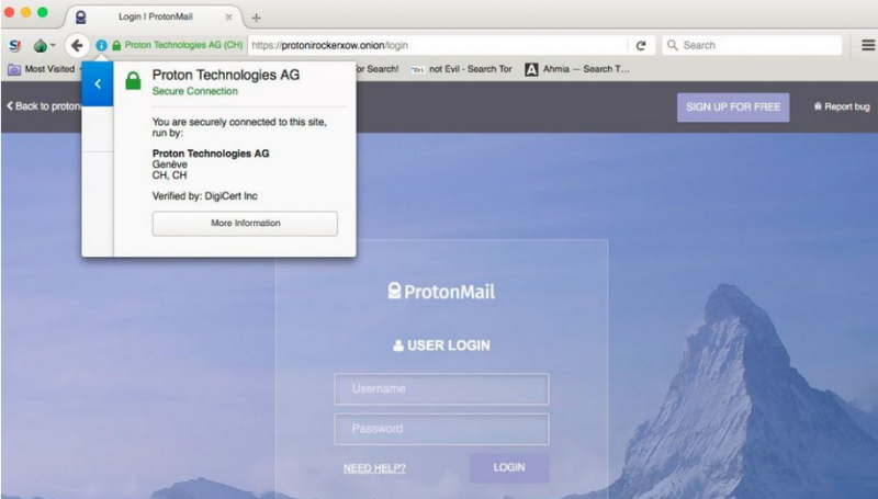 ProtonMail over Tor