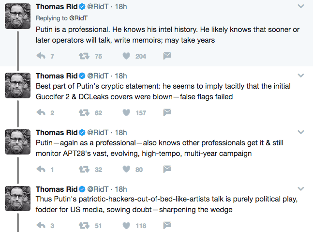 Thomas Rid comments on Putin statement