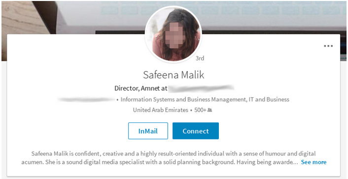 Safeena Malik fake profile