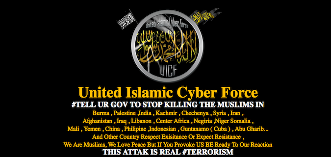 United Islamic Cyber Force (UICF) defacement