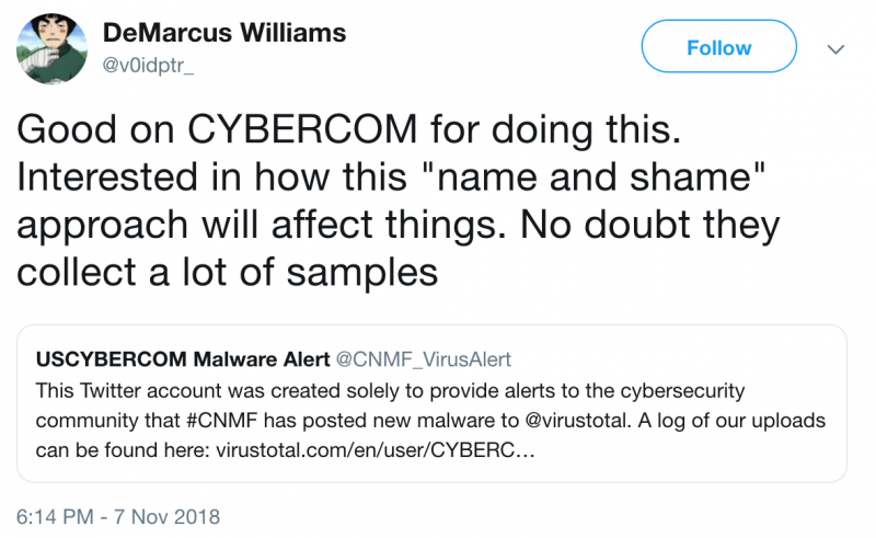 USCYBERCOM shares malware samples on VirusTotal