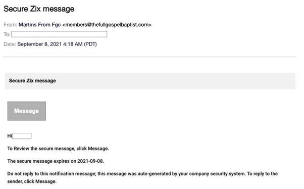 Zix phishing email