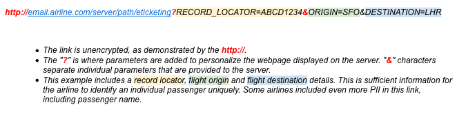 Airlines send unencrypted check-in links