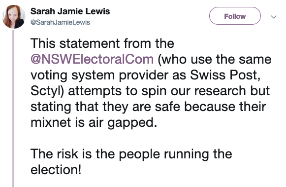 Sarah Jamie Lewis comments on e-voting vulnerabilities