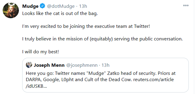Peiter 'Mudge' Zatko named Head of Security at Twitter