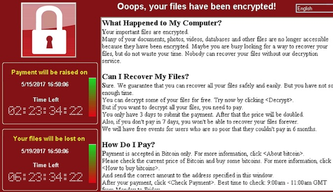 WannaCry ransomware ransom screen