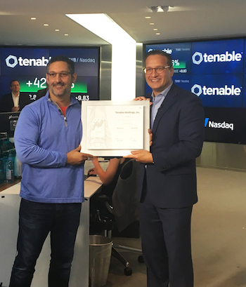 Joe Brantuck of Nasdaq with Tenable CEO Amit Yoran