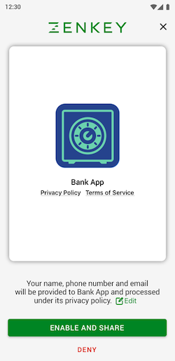 ZenKey login via mobile device